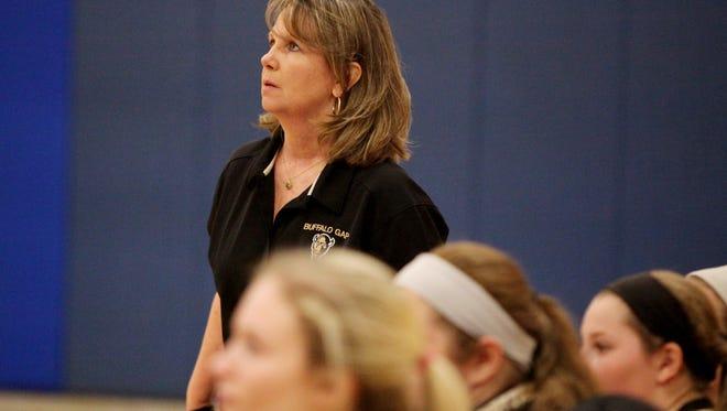 Buffalo Gap's Elizabeth Ashby coaches her team during its 2A East regional final match against Robert E. Lee.
