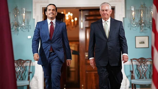 Secretary of State Rex Tillerson and Qatari Foreign Minister Mohammed Bin Abdulrahman Al Thani on June 27, 2017.