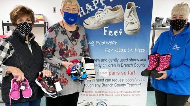 """""""Happy Feet"""" committee members Pat Myers, Connie Winbigler and Jan Storrs."""