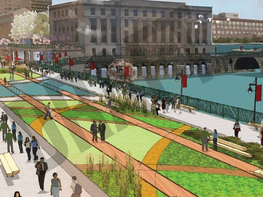 One of the options for the Broad Street aqueduct that removes the roadway cap and creates a pedestrian plaza in the old Erie Canal bed.