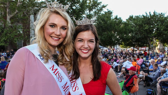 Miss Murfreesboro Mary Beth Arnett and Miss MTSU Addison Grace Hadley at the First Friday Concert, held Friday, June 1 on the square in Murfreesboro.