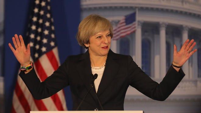 British Prime Minister Theresa May speaks at the Congress of Tomorrow Republican Member Retreat at Loews Philadelphia Hotel on Jan. 26, 2017 in Philadelphia.