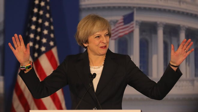 British Prime Minister Theresa May speaks at the Congress of Tomorrow Republican Member Retreat at Loews Philadelphia Hotel on January 26, 2017 in Philadelphia.