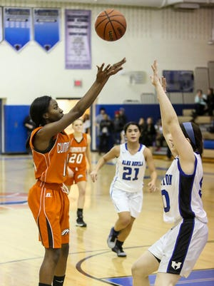 Vashti Hannah (14) of Cumberland shoots the ball against Hammonton in a game from last year. Hannah is one of the big reasons why the Colts are experiencing plenty of success this winter.