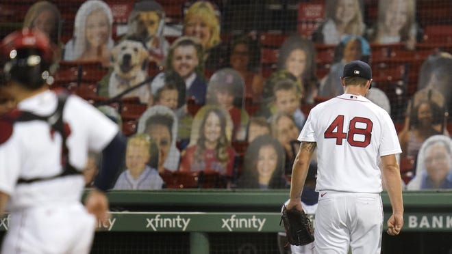 Colten Brewer exits in the fifth inning Monday night.