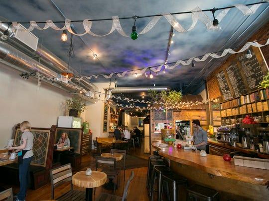 The restaurant features healthy cuisine, juices, espresso,