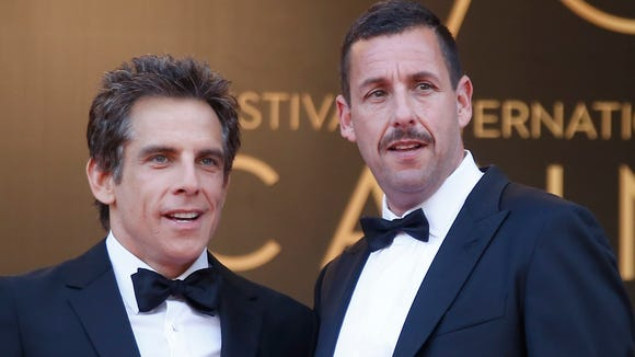 Ben Stiller, right, and Adam Sandler at the Cannes