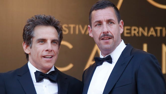 Ben Stiller, right, and Adam Sandler at the Cannes Film Festival premiere of Netflix's 'The Meyerowitz Stories.'