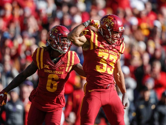 Iowa State defensive back Braxton Lewis flexes after putting a hard hit on TCU kick return on Saturday, Oct. 28, 2017, at Jack Trice Stadium in Ames.