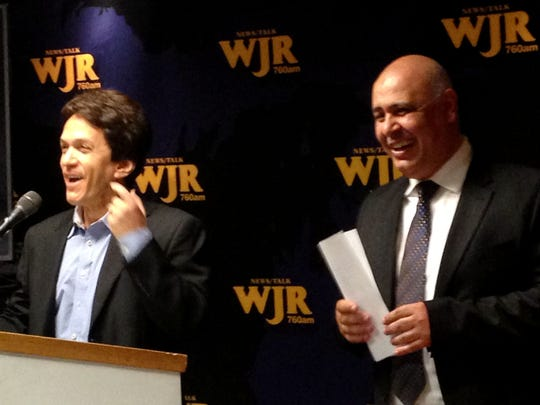Mitch Albom, left, and Dr. Chad Audi, both of S.A.Y. Detroit, raised more thank $800,000 dollars during a radiothon.