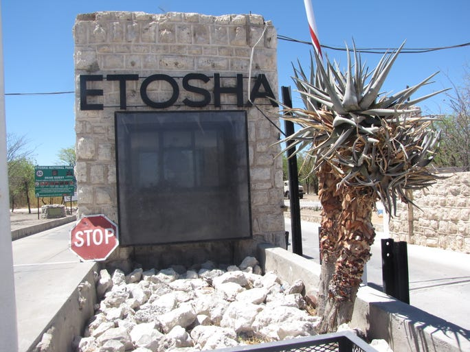 The entrance gate to Namibia's Etosha National Park, which is the largest in the country and one of southern Africa's best game reserves.