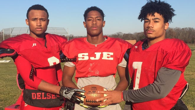 Delsea's running back corps of Shaikyi Hannah (left), Tymir Kizee and Aidan Borguet have powered a punishing ground attack.