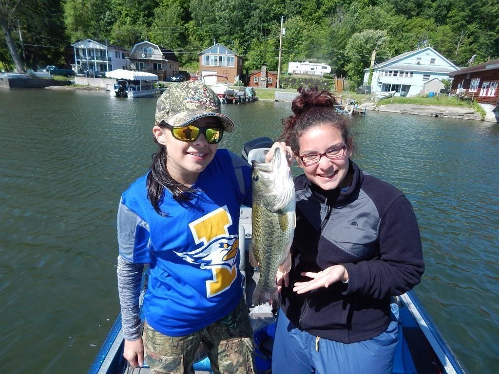 Irondequoit Fishing Club members Kaitlyn Garbanzo (left) and Lillia Rodriguez at New York B.A.S.S. state championships.