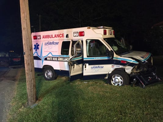This White Rose Ambulance was hit by a car driving the wrong way.