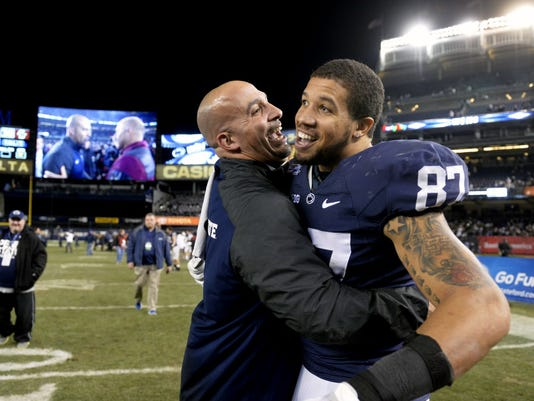 James Franklin will need his tight ends, like Kyle Carter (right),  to be improved blockers this fall.