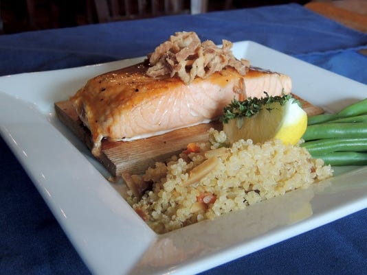 One of the Blue Bird Inn s Lebanon County Restaurant Week specials is bourbon maple Norwegian salmon topped with crispy onions and toasted almond quinoa pilaf.