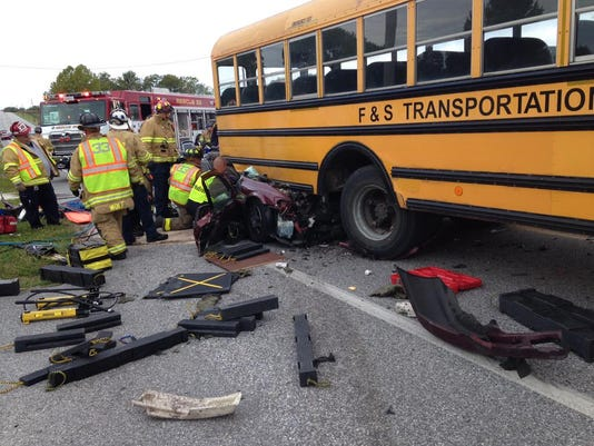 911 Photography shared this image on Twitter of a school bus crash this morning on York Road in Abbottstown. One person was reported trapped under the bus, although none of the children were injured.