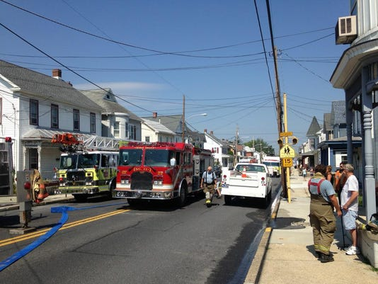 North Queen Street in Littlestown is blocked in both directions as crews respond to a fire on Aug. 24.