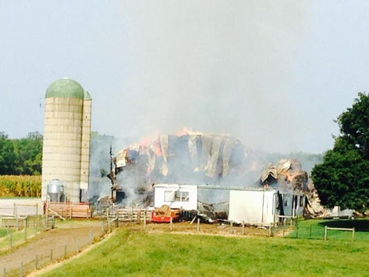 Fire on South Kralltown Road in Washington Township consumes barn.