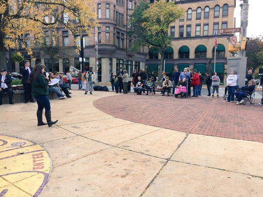 Erica McBride, the secretary and treasurer of the advocacy organization Keystone Cannabis Coalition, talks to a crowd of about 75 people who gathered in downtown York on Saturday in support of marijuana and hemp reform. It's the third year the York Hemp Freedom Rally has been held.