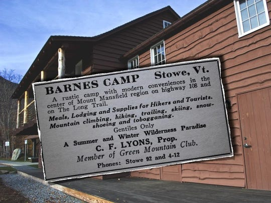 An ad for Barnes Camp in the Green Mountain Club's 1940 Long Trail Guide exemplifies anti-Semitic fears that the Parkway would have brought Jewish resorts and Jews to Vermont.