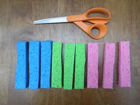 To make sponge balls, cut up colorful sponges into thirds.