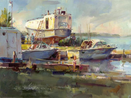 """""""Hinkleys Fishing,"""" oil on linen by Tom Nachreiner, who gives a demonstration of his painting techniques from 1 to 3 p.m. Sept. 3 at at Edgewood Orchard Galleries. Nachreiner's Impressionist paintings are featured in the Courtyard Gallery at Edgewood Orchard."""