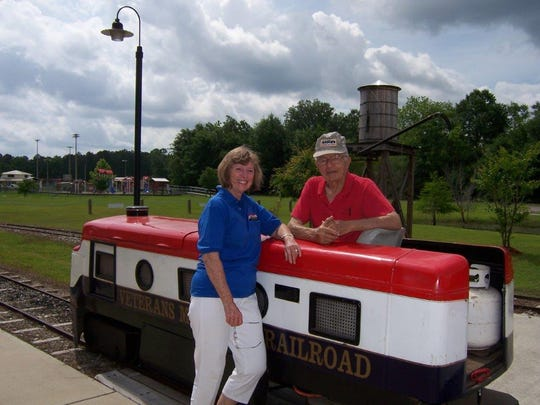 Gloria Keenan and her late husband Thomas Keening with their amusement park train in Bristol.