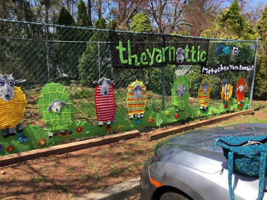 The Metuchen Yarn Bombers created this cute mural for