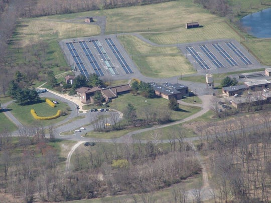 An aerial view of the Pequest Trout Hatchery facility in Oxford.