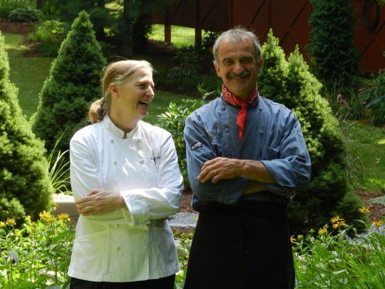 Chef Donna Seibert (left) of the Waybury Inn in Middlebury with sous chef Christian Grollier
