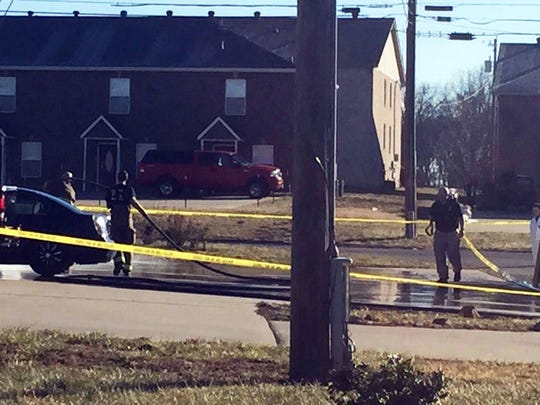 Clarksville Fire Rescue respond to a shooting scene at Lansinger Lane and Cranklen Circle and wash a driveway.