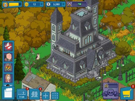 """This haunted mansion is one of the sites you can build in the Halloween version of """"Family Guy: The Quest for Stuff."""""""