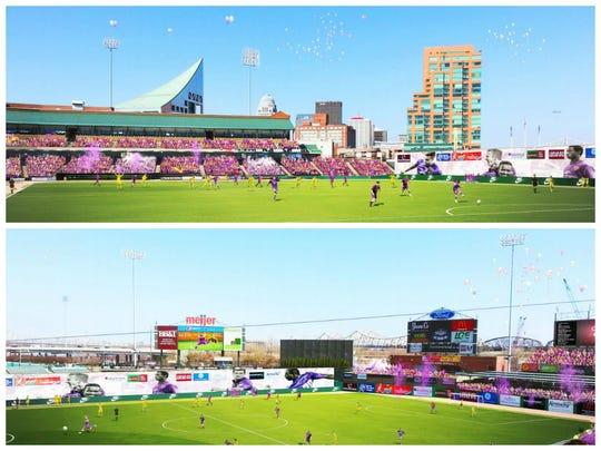 Renderings of Louisville Slugger Field's soccer layout.