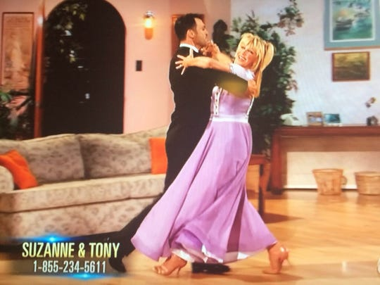 """Suzanne Somers, seen in this screenshot, performed on """"Dancing with the Stars"""" during week four of the dance competition."""