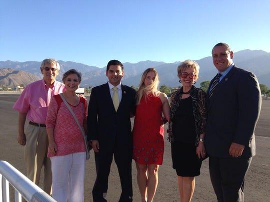 From left to right, Stewart Boxer, U.S. Sen. Barbara Boxer, Rep. Raul Ruiz, wife Monica Ruiz, Rancho Mirage Mayor Iris Smotrich, and Agua Caliente Band of Cahuilla Indians Chairman Jeff Grubbe.