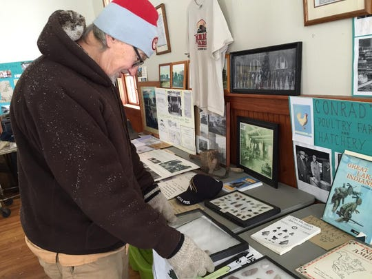 The St. Clair County Sheriff Department is investigating a break-in at the historic C.C. Peck and Co. Bank at the Goodells County Park. Herm Weng, president of the Wales Historical Society, looks at a display case that used to hold 15 to 20 arrowheads.