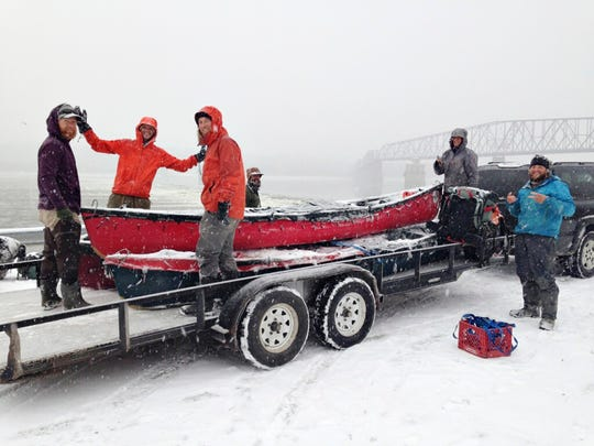 The Rediscovering North America paddlers reached the Chain of Rocks north of St. Louis on Feb. 28 on the heels of a winter storm. Pictured are Adam Trigg, from left, Luke Kimmes, Jarrad Moore, Winchell Delano, Dan Flynn and John Keaveny.