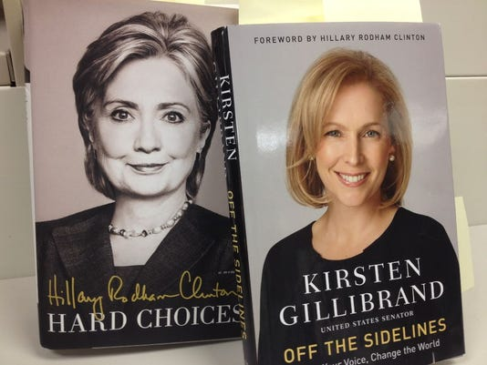 """New York Sen. Kirsten Gillibrand's new book, """"Off The Sidelines"""" has a forward written by her Senate predecessor Hillary Rodham Clinton. But Clinton never even mentioned Gillibrand in her recent book, """"Hard Choices"""" published in June. Gannett photo by Brian Tumulty"""