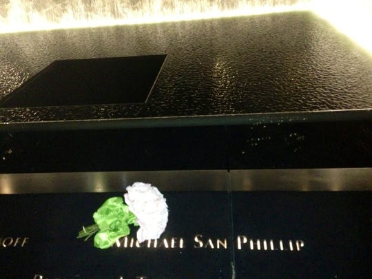 Michael San Phillip's name on the memorial pool.