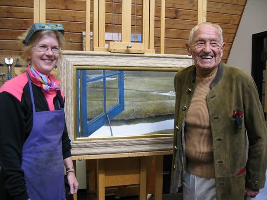 "Joyce Hill Stoner (left) with Andrew Wyeth and his painting, ""Love in the PM."""