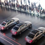 A range of Mercedes cars are presented during the 65th Frankfurt Auto Show in Frankfurt, Germany, on Sept. 12, 2013.
