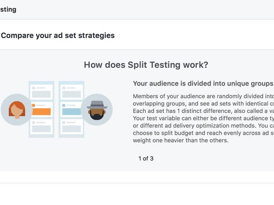 Facebook's split testing option, which allows an ad