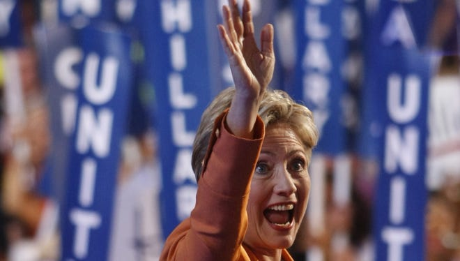 """Hillary Clinton spies a friend (or """"friend"""") offstage at the 2008 Democratic National  Convention in Denver, Colo."""