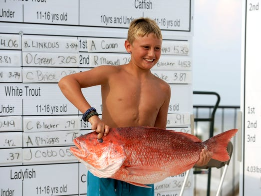 Clayton Powe shows off his 19.92 pound Red Snapper Sunday during the Pensacola Bud Light Fishing Rodeo at Flounders at Pensacola Beach.