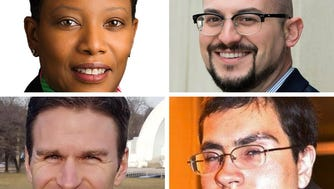 Incumbent Valarie Hill (clockwise from top left), Brian Michel, William Crowley and Kail Decker are running for Milwaukee Municipal Court Branch 1.