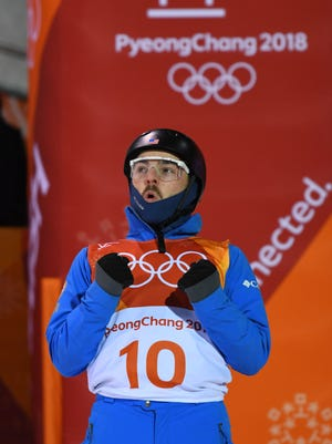 Jonathon Lillis (USA) reacts after landing a jump during the men's freestyle skiing aerials final during the Pyeongchang 2018 Olympic Winter Games at Phoenix Snow Park.
