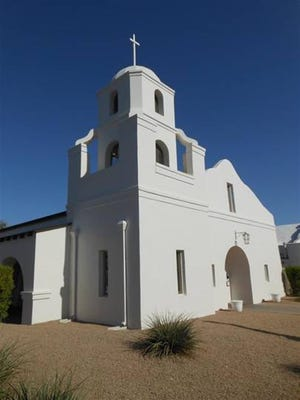 The Old Adobe Mission at 3821 N. Brown Ave. was completed in 1933 and today is one of only three remaining adobe structures in downtown Scottsdale.