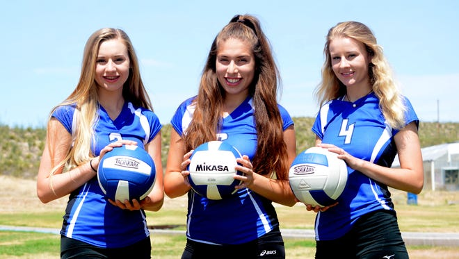 Carrie Lynn (2), Jayda Rodriguez (6) and Baylee Lynn (4) are among Carlsbad volleyball's key returners in 2016.