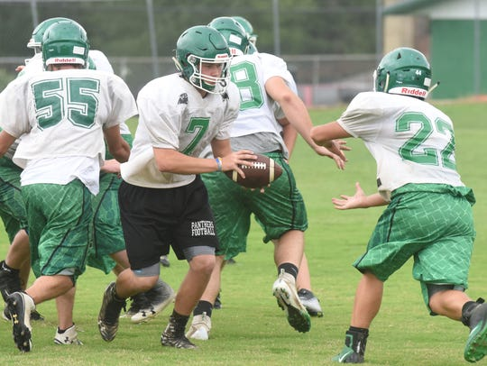 Yellville-Summit quarterback Eli Cagle hands off during